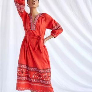 Anthropologie Scarlet Puff-Sleeved Maxi Dress NWT